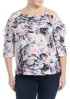 Not Your Daughter's Jeans Palm-Leaf Cold-Shoulder Blouse