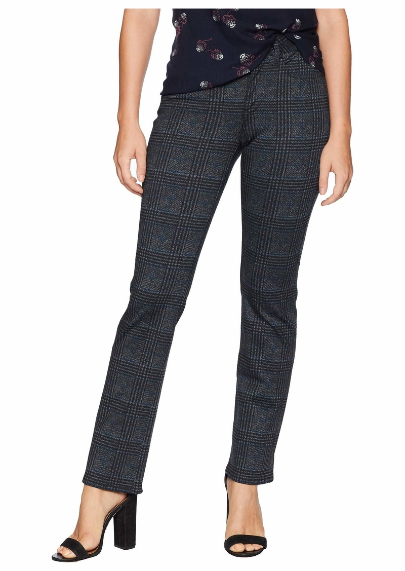 NYDJ Petite Marilyn Straight in Plaid Ponte Black