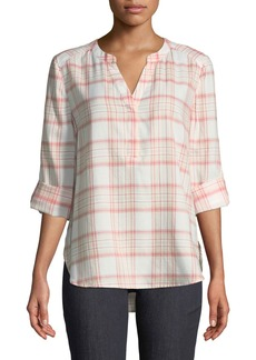 Not Your Daughter's Jeans Plaid-Twill Henley Blouse