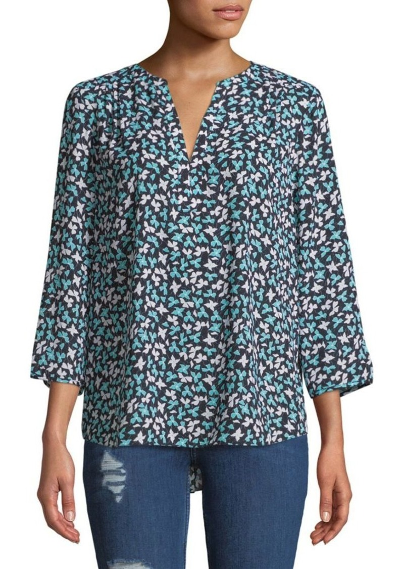 NYDJ Printed Split-Neck Blouse
