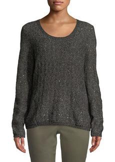 NYDJ Sequin Long-Sleeve Scoop-Neck Sweater