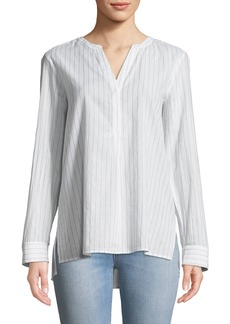 NYDJ Shimmer-Striped Lawn Henley Blouse