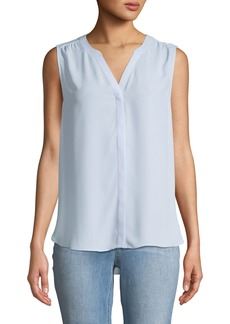 NYDJ Sleeveless Button-Front Pintuck-Back Blouse
