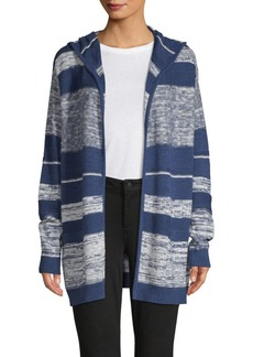 NYDJ Striped Hooded Cotton Cardigan