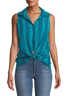 NYDJ Striped Linen Sleeveless Button-Front Blouse
