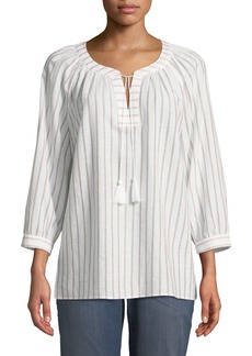 Not Your Daughter's Jeans Striped Tassel-Neck Blouse