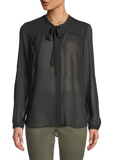 NYDJ Tie-Neck Button-Front Blouse