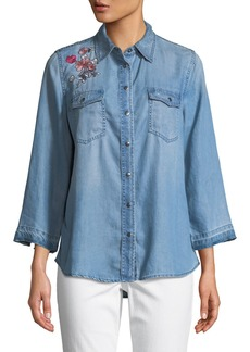 Not Your Daughter's Jeans Wide-Sleeve Embroidered Denim Blouse