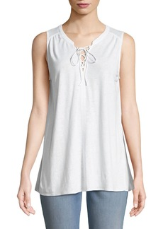 NYDJ Woven-Back Lace-Up Tank