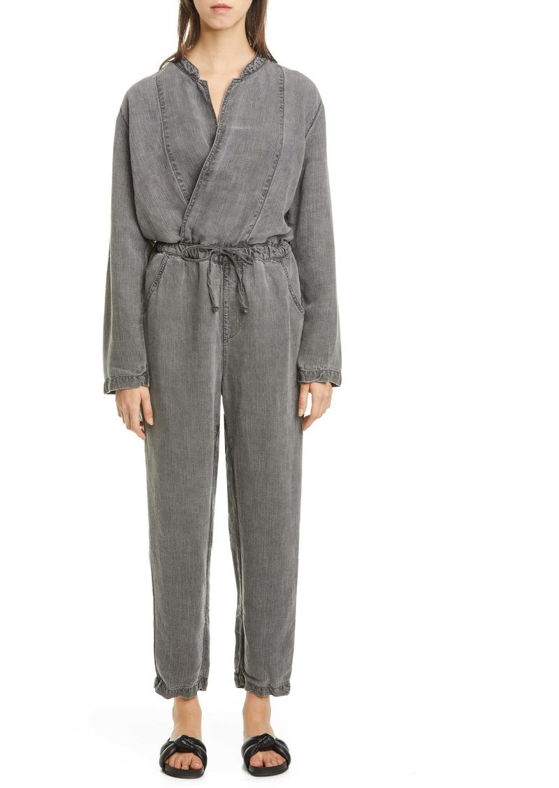 NSF Clothing Alana Surplice Linen Blend Jumpsuit
