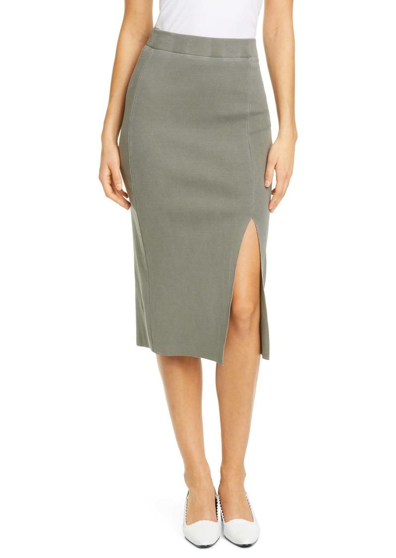 NSF Clothing Arizia Side Slit Ribbed Skirt