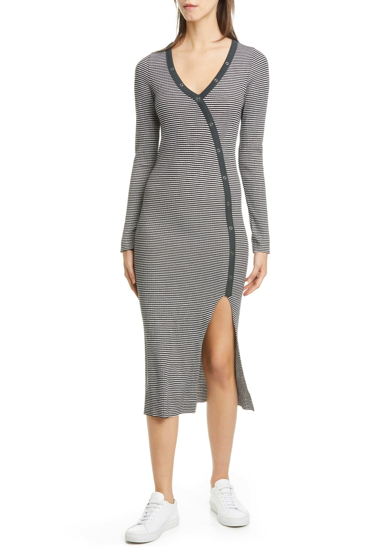 NSF Clothing Etty Asymmetrical Henley Long Sleeve Dress
