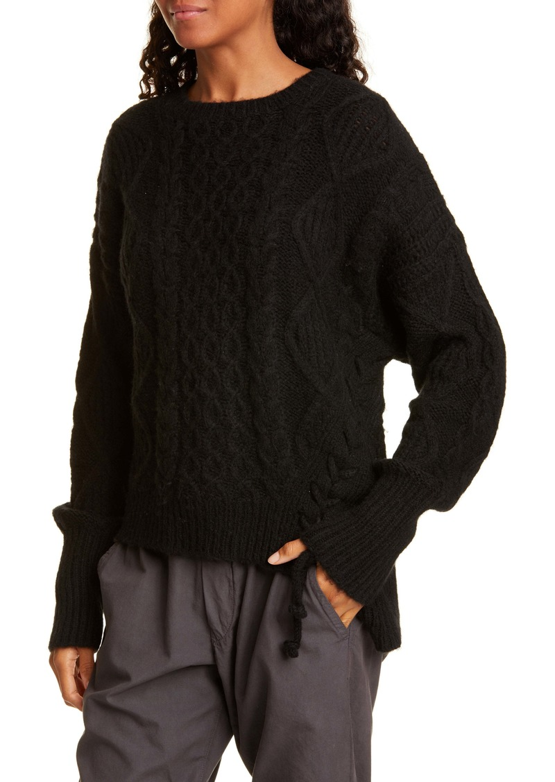 NSF Clothing Skyla Side Tie Wool Blend Sweater