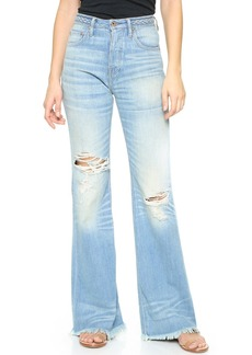 NSF High Waist Braided Belt Flare Jeans