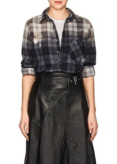 NSF Women's Axel Distressed Plaid Cotton Shirt