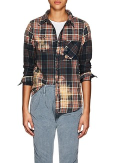 NSF Women's Bara Distressed Plaid Cotton Flannel Shirt
