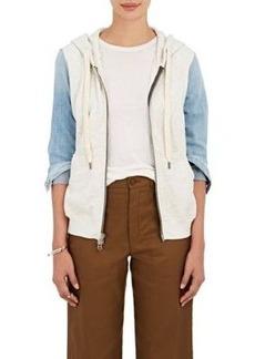 NSF Women's HD Denim-Sleeve Cotton Terry Sweater