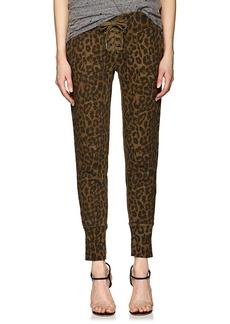 NSF Women's Maddox Lace-Up Leopard-Print Cotton Sweatpants