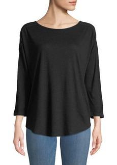 NYDJ 3/4-Sleeve Knit Tee w/Braided Shoulder Trim