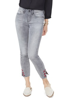 NYDJ Ami Rose Embroidered Slit Hem Ankle Jeans