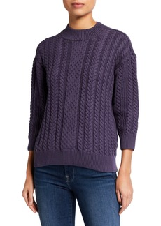 NYDJ Cable-Knit 3/4-Sleeve Sweater