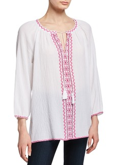 NYDJ Embroidered Tie-Neck Peasant Blouse