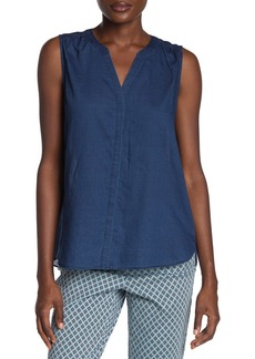 NYDJ Indigo Sleeveless Pintuck Blouse