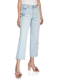 NYDJ Jenna Floral Applique Frayed Straight Ankle Jeans