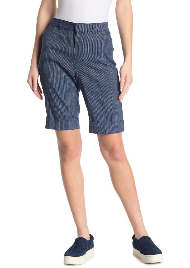 NYDJ Linen Blend Bermuda Stripe Shorts
