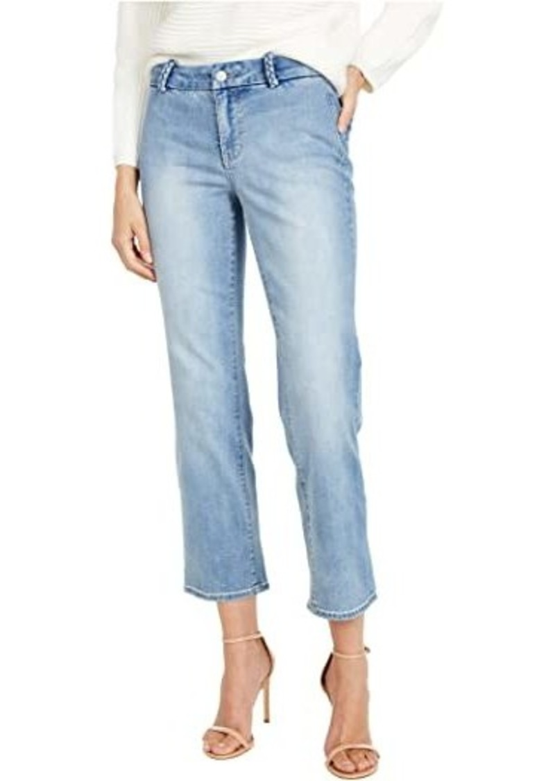 NYDJ Marilyn Straight Ankle Jeans with Braided Belt Loops in Clean Coheed