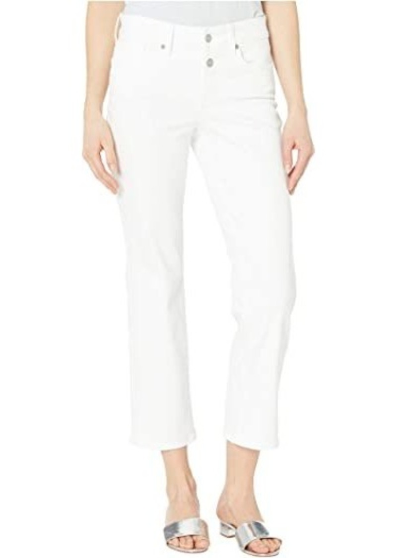 NYDJ Marilyn Straight Ankle Jeans with Mock Fly in Optic White
