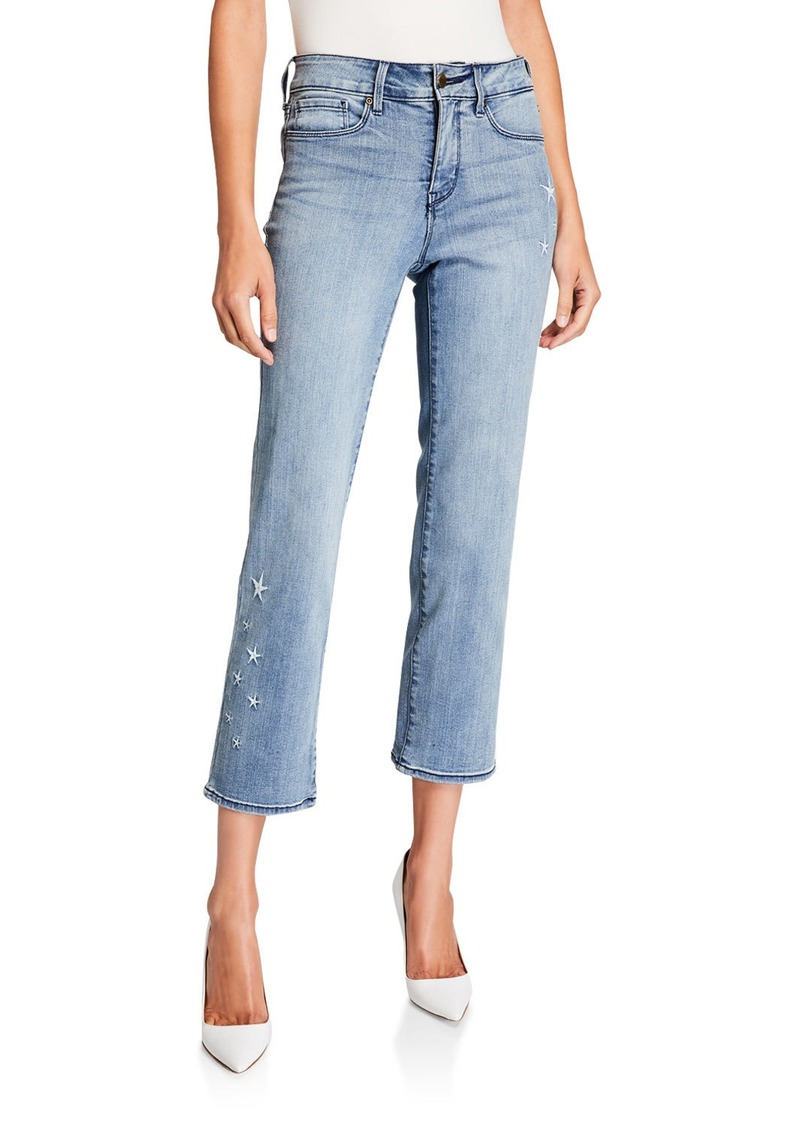 Marilyn Straight-Leg Ankle Jeans with Seastar Embroidery