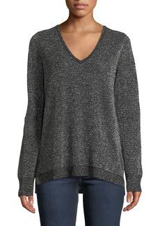 NYDJ Metallic Double V-Neck Sweater
