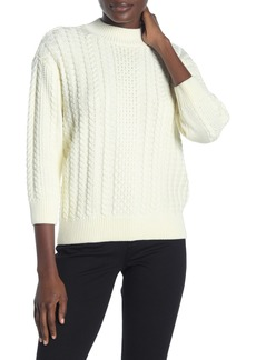 NYDJ Mock Neck 3/4 Sleeve Cable Knit Sweater