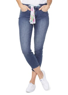 NYDJ Alina High Waist Scarf Tie Stretch Denim Ankle Skinny Jeans