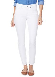 NYDJ Alina High Waist Side Slit Ankle Skinny Jeans (Optic White)
