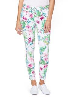 NYDJ Alinan High Waist Floral Legging Ankle Jeans (Tropical Garden White)