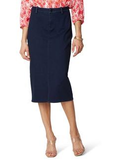NYDJ Braided Belt Loop Denim Midi Skirt