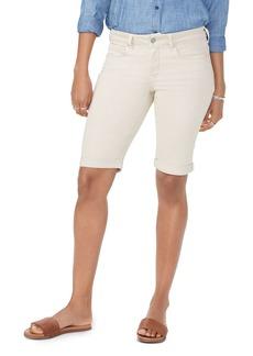 NYDJ Briella Cuffed Denim Bermuda Shorts in Feather