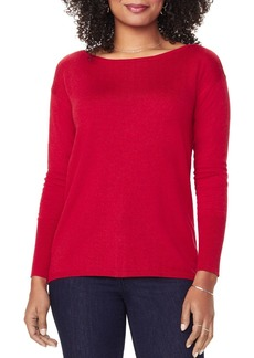 NYDJ Button-Back Boatneck Sweater
