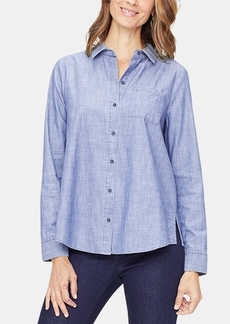 Nydj Cotton Chambray A-Line City Shirt