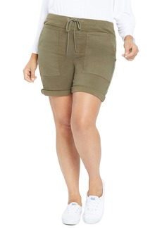 NYDJ Drawstring Stretch Cotton Twill Cargo Shorts (Plus Size)