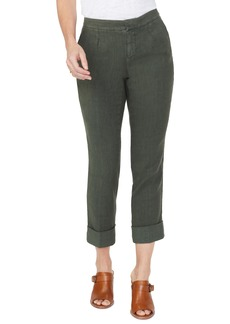 NYDJ Everyday Pleated Cuff Detail Linen Blend Trousers