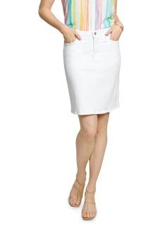 NYDJ Five-Pocket Denim Skirt in Optic White