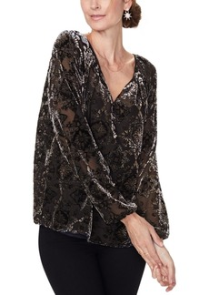 Nydj Flocked Split-Neck Top