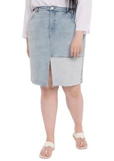NYDJ Frayed Denim Pencil Skirt (Plus Size)