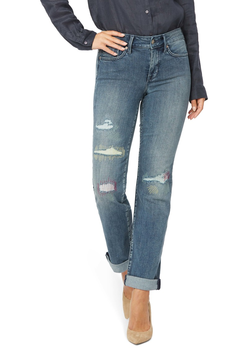 NYDJ Marilyn Cool Embrace® Ripped Ankle Straight Leg Jeans (Clean Monet)