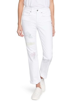 NYDJ Marilyn Cool Embrace® Ripped Ankle Straight Leg Jeans (Optic White)