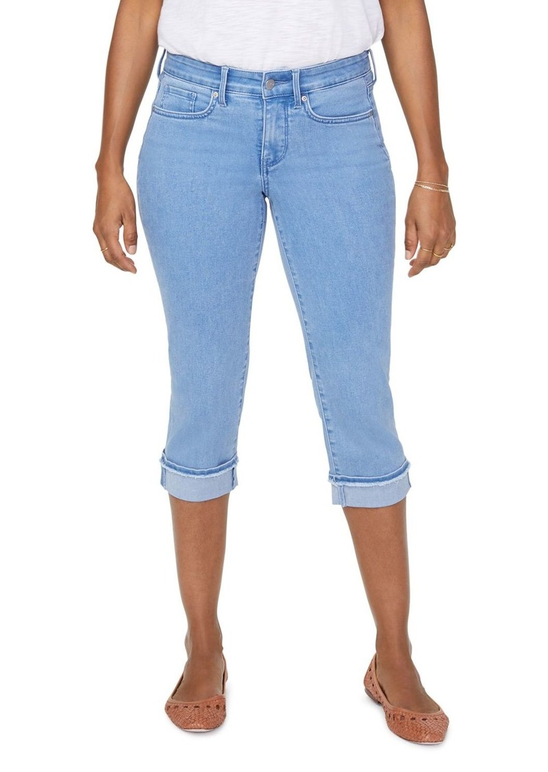 NYDJ Marilyn Frayed Hem Cropped Straight Jeans in Belle Isle