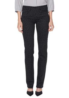 NYDJ Marilyn High Waist Leopard Print Straight Leg Jeans (Whisper Cat)